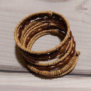 Vintage Boho Wood Bead Wrap Bracelet